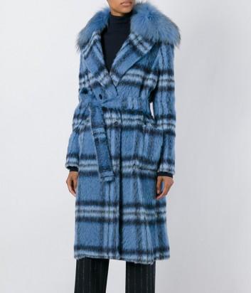 Синее пальто в клетку P.A.R.O.S.H. со съемным меховым воротником