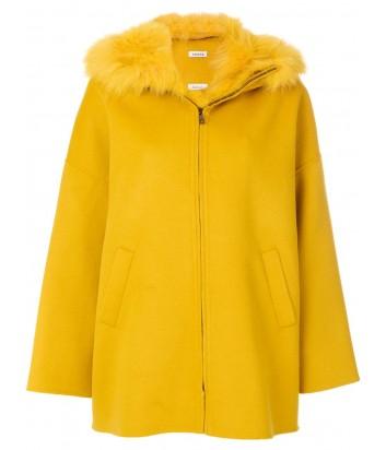 Желтое пальто на молнии P.A.R.O.S.H. со съемным меховым воротником