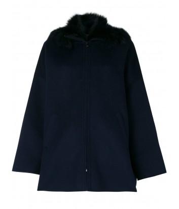 Синее пальто на молнии P.A.R.O.S.H. со съемным меховым воротником