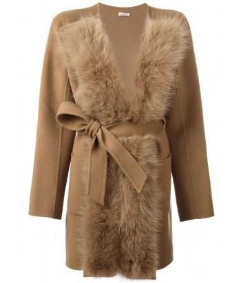 Шерстяное пальто P.A.R.O.S.H. со съемным меховым воротником бежевое