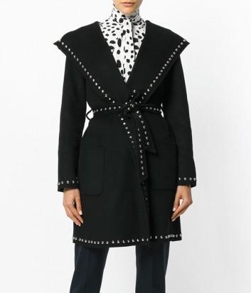 Черное шерстяное пальто P.A.R.O.S.H. с заклепками по канту