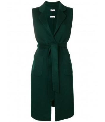 Шерстяное пальто-жилет P.A.R.O.S.H. с карманами темно-зеленое