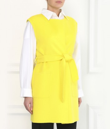 Желтый кашемировый жилет P.A.R.O.S.H. на запах с карманами