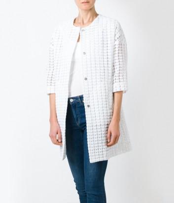 Белое ажурное пальто P.A.R.O.S.H. Plastic рукава три четверти