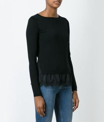 Черный шерстяной свитер P.A.R.O.S.H. Lizzy с пуговичками по спине