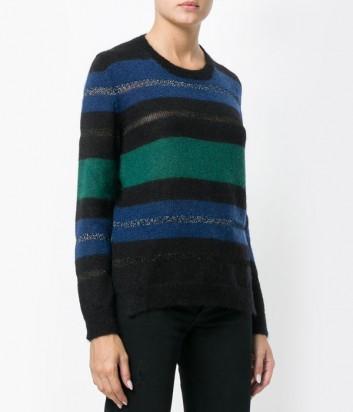 Черный свитер P.A.R.O.S.H. Lissen в сине-зеленую полоску