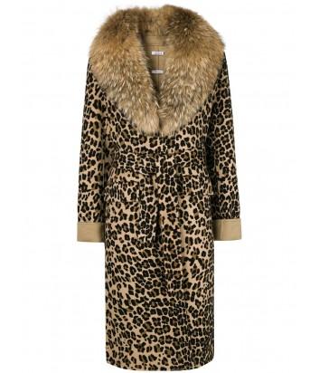 Пальто P.A.R.O.S.H. с леопардовым принтом и роскошным меховым воротником