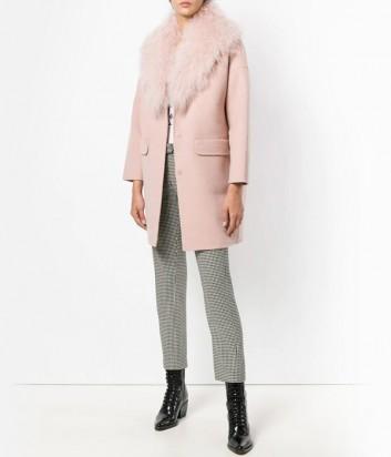 Нежно-розовое пальто P.A.R.O.S.H. Lamon со съемным меховым воротом