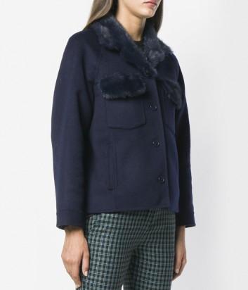 Синее короткое пальто P.A.R.O.S.H. со съемным меховым воротником