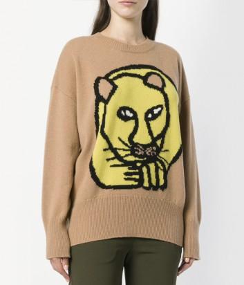 Бежевый шерстяной свитер P.A.R.O.S.H. с изображением льва