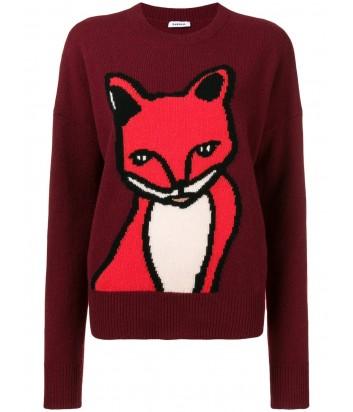 Бордовый шерстяной свитер P.A.R.O.S.H. с изображением лисички