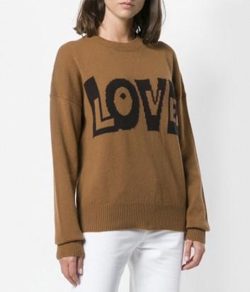 Коричневый женский свитер P.A.R.O.S.H. с надписью LOVE