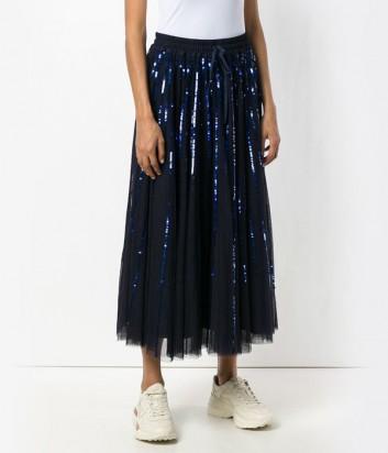 Темно-синяя юбка-миди P.A.R.O.S.H. Gequinc расшитая пайетками