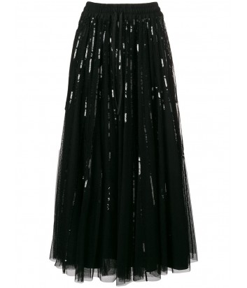 Черная юбка-миди P.A.R.O.S.H. Gequinc расшитая пайетками