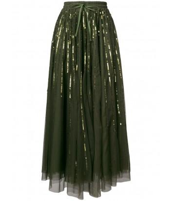 Оливковая юбка-миди P.A.R.O.S.H. Gequinc расшитая пайетками