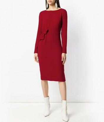 Бордовое трикотажное платье-миди P.A.R.O.S.H. Lachix с бантиком на талии