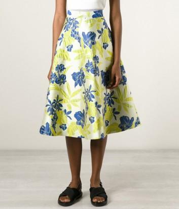 Белая жаккардовая юбка P.A.R.O.S.H. с желто-синим цветочным принтом
