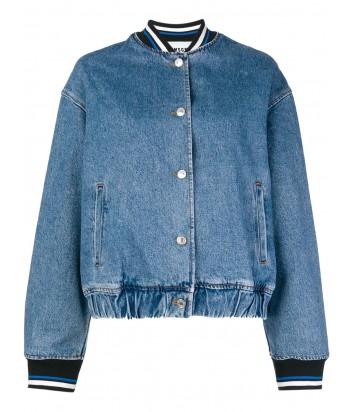 Синий джинсовый бомбер MSGM с нашивкой на спине