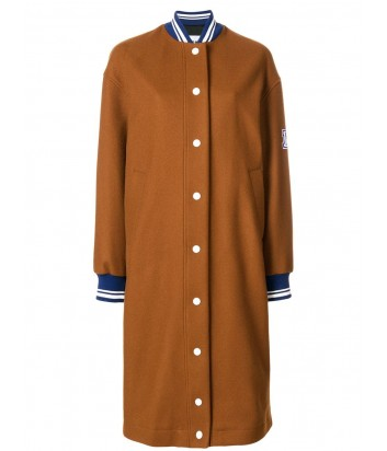 Коричневое шерстяное пальто MSGM с нашивкой на рукаве