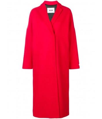 Красное пальто MSGM с изображением розы на спине