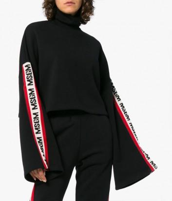 Черный укороченный свитшот MSGM с расклешенным рукавом