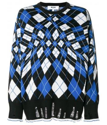 Принтованный свитер MSGM с бело-синими ромбиками