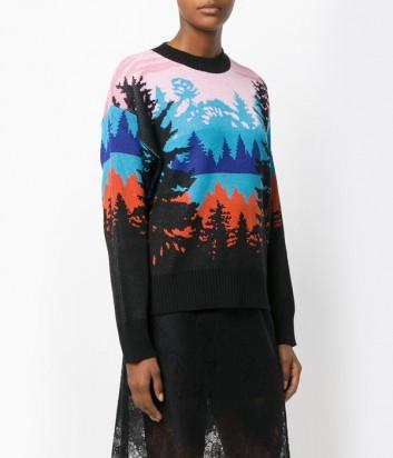 Цветной свитер MSGM с изображением леса