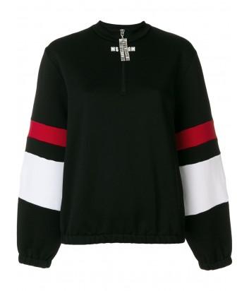 Черный свитшот MSGM с красно-белыми полосками на рукавах