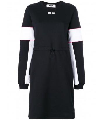 Черное спортивное платье MSGM затягивается на талии