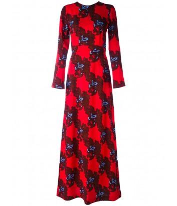 Красное платье в пол MSGM с контрастным узором