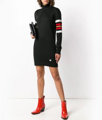 Черное трикотажное платье MSGM с ярким орнаментом на спине