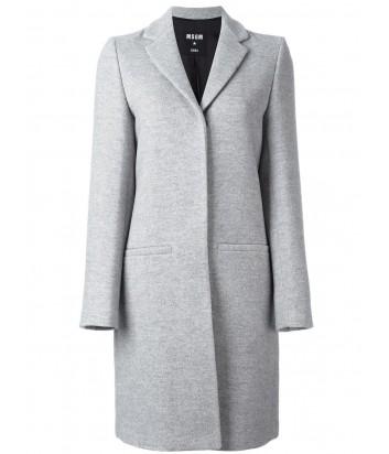 Серое женское пальто MSGM с классическим воротником