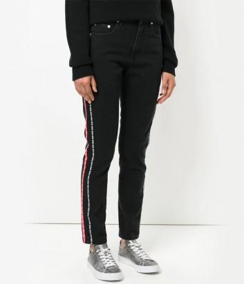 Черные джинсы MSGM с контрастными брендированными лампасами