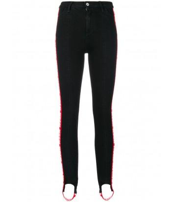 Черные джинсы скинни MSGM с красными брендированными лампасами