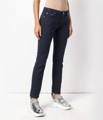 Темно-синие джинсы MSGM с надписями бренда сзади на голенище