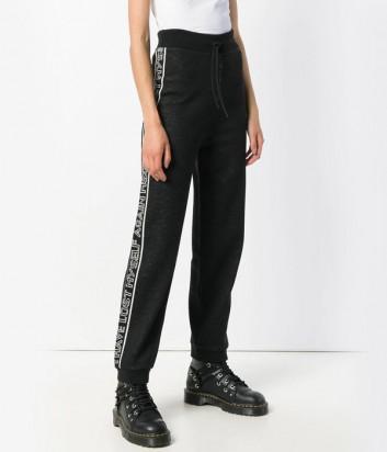 Трикотажные спортивные штаны MSGM с надписями по бокам черные