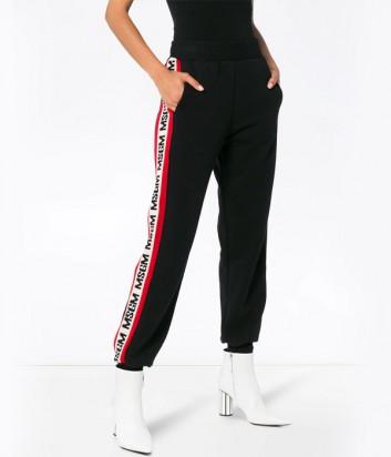 Черные спортивные штаны MSGM с контрастными надписями бренда по бокам