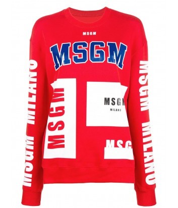 Красный хлопковый свитшот MSGM с яркими надписями