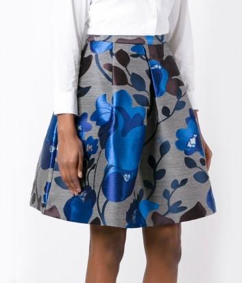 Серая юбка P.A.R.O.S.H. с синим цветочным принтом