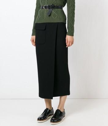 Черная трикотажная юбка P.A.R.O.S.H. на запах с карманом