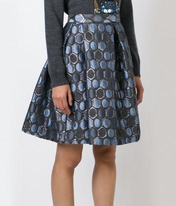 Жаккардовая юбка P.A.R.O.S.H. с серо-синим принтом