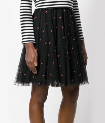 Черная пышная юбка из тюля P.A.R.O.S.H. с вышитыми вишенками