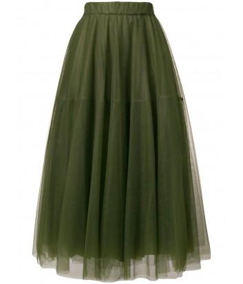 Пышная юбка-миди из тюля P.A.R.O.S.H. с эластичным поясом оливковая