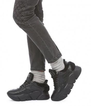 Черные кроссовки с мехом Voile Blanche Creep Fur на высокой танкетке