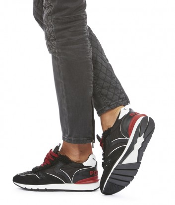 Женские кроссовки Voile Blanche Julia Race Pop с глиттерными вставками черные