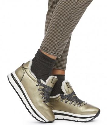 Кожаные кроссовки Voile Blanche Margot Jump с мехом золотые