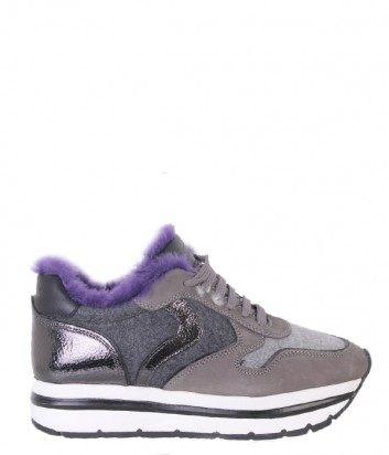 Бежевые замшевые кроссовки Voile Blanche May с лиловым мехом
