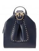 Синий кожаный рюкзак PINKO 1P2171 декорированный брошью
