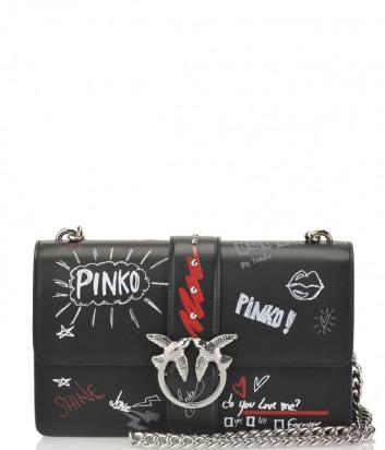 Черная кожаная сумка Pinko Love Bag 1P2193 с надписями