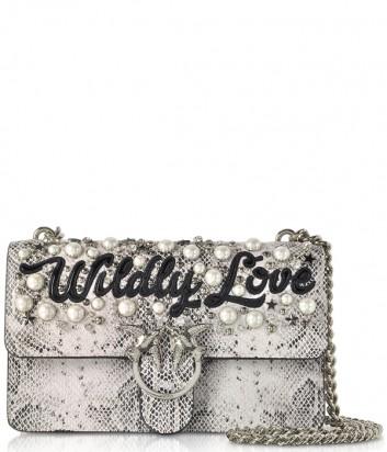 Кожаная сумка Pinko Wildly Love Bag с принтом под змею